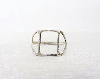 Hollow square sterling silver ring ,  Handmade geometric sterling silver ring