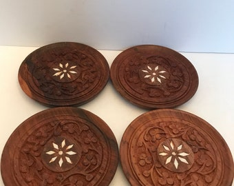 Vintage set of 4 hand carved sheesham wood coasters with inlay design