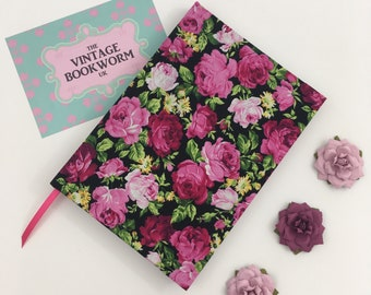 2018-2019 Academic A5 Day to View Diary Hand Covered in a bright, contemporary Rose Print Fabric in pinks and reds...English Rose deisgn