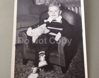 Vintage little boy photo in club chair 5 x 7