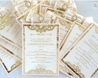 Blush and Gold Menu Card