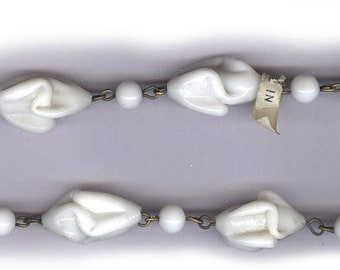 """vintage rosary bead chain WHITE TWISTY JAPANESE glass bead chain on patinaed wire strand antique glass strand 1940s 16"""" strand"""