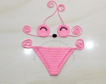 Pink crochet bikini for kids, crochet bikini baby made by Trangscrochet - Full size, 28 corlors