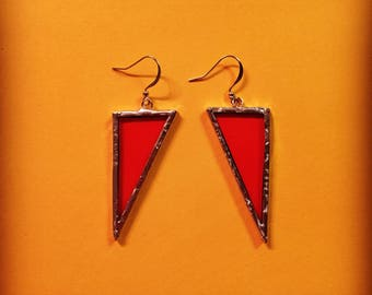 Transparent Orange Stained Glass Earrings