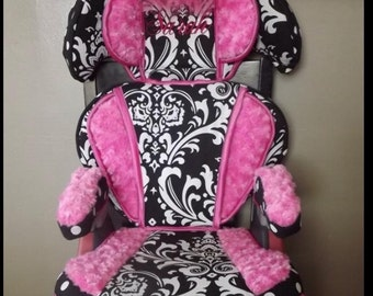 Reupholstered Car Booster Seat Cover High Quality Hot Pink Fuschia Minky Dot Polka Dots tulle Princess Toddler Chair Professionally Designed