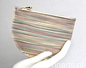 Zipper pouch demi-CIRCLE in rainbow coloured striped leather. Travel pouch. Cosmetic pouch. Bag insert. gift for women. gift under 25