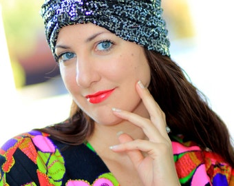 Fashion Turban - Silver and Black Sequins by Mademoiselle Mermaid