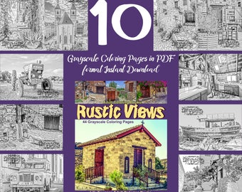 """10 grayscale coloring pages for adults from coloring book """"Rustic Views"""" Adult Coloring Book pdf digital download"""