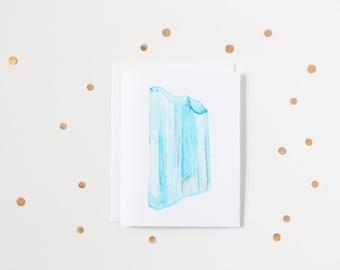Watercolour Aquamarine Gemstone Blank Greeting Card
