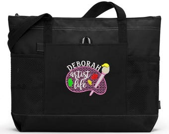 Art Life Personalized Embroidered Zippered Tote Bag With Mesh Pockets, Beach Bag, Boating