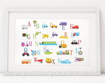 Alphabet Poster, Nursery Wall Art, Transportation Alphabet Playroom Poster, Alphabet Wall Art, Alphabet Nursery Art, Nursery Art - 22-0049
