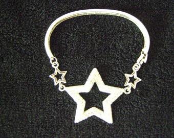 Silver tone Star and Rhinestones Bracelet