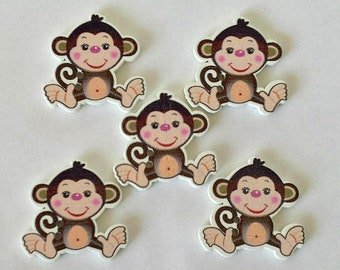 5 Monkey Buttons - Wooden Monkey Buttons - Monkeys - Sewing Buttons - Quilting Buttons