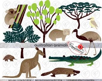Australian Animals and Trees: Digital Clipart Set (300 dpi) Koala Kangaroo Platypus Crocodile Kookaburro Acacia Eucalyptus
