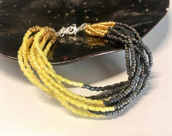 Multi-layered Yellow Grey Gold Bracelet, Multistrand Bracelet, Boho-chic Jewelry