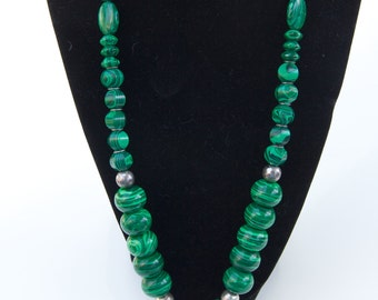 Necklace green kelly green dark green malachite donut pendant silver beads brass bail and findings OOAK