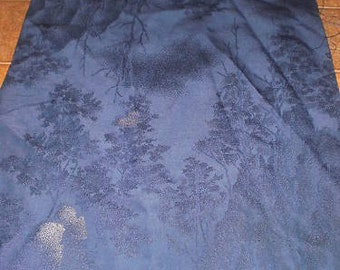 SF36 Vintage Japanese Enchanted Blue Forest, Woven, Silver Lamé on Silk