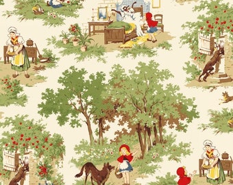 Little Red Riding Hood, 50297-X,  Red Scenic Cotton Woven fabric