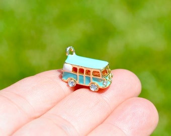 5 VW 3D Bus Charms Gold Plated Blue Enamel GC4234