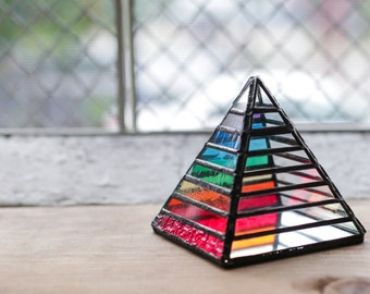 FREE SHIPPING-Rainbow Chakra Stained Glass Pyramid