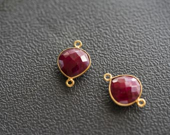 Natural Ruby, Bezel Heart Shape Connector, 12mm Heart 24k Gold Plated, Double Bail (4)