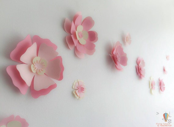 Pink paper flowers wall decor nursery mothers day like this item mightylinksfo Image collections
