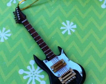 Electric Guitar Ornament, Black or Red Guitar, 4 inches long, no sound