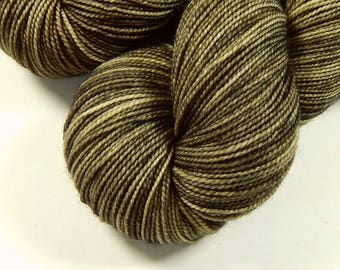 Hand Dyed Yarn, Sock Weight Superwash Merino Wool Yarn - Potluck Bronze, Tonal Indie Dyed Fingering Knitting Yarn, Earthy Rustic Neutral