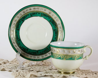 Green & White Striped Teacup and Saucer