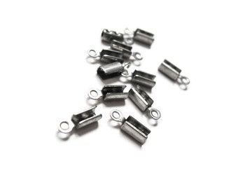 10 pcs Fold Cord Tips, Clasps, Ribbon Crimp End Caps - 304 Stainless Steel Cord Ends