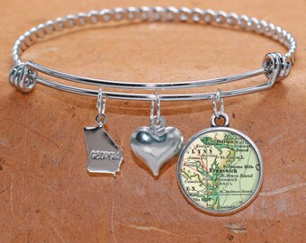 Brunswick Georgia Map Charm Bracelet State of GA Bangle Cuff Bracelet Vintage Map Jewelry Stainless Steel Bracelet Gifts For Her