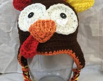 Crochet Turkey Beanie// Turkey Hat// Thanksgiving Beanie