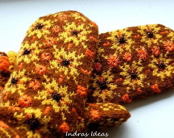 Sunny winter style mittens - warm and beautiful