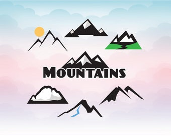 Mountains design in vectors, Hiking vector file, SVG mountains, DXF, AI, ps and pdf Cutting Files for  Cutting Machines