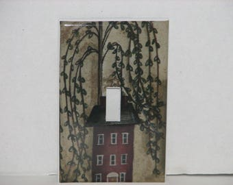 Red Salt Box House Willow Tree Single Switch plate Cover Single Toggle Light Cover Primitive Country