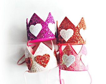 Valentine Crown || Queen of Hearts Crown ||February Birthday Glitter Birthday Crown || Valentine Party Hat Photo Prop