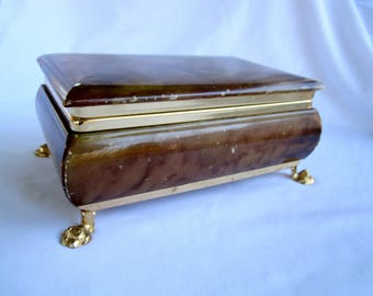 Brown Marble Trinket Stash Jewelry Box Vintage Made in Italy Italian Decor