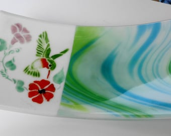 Glass Hummingbird Plate, Fused Glass Sushi Plate, Glass Sushi Platter, Fused Glass Platter -- Fused Glass Bird Plate