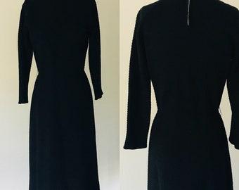 Vintage 1950's Black Wool Knit Waffle Tea Length Dress l M