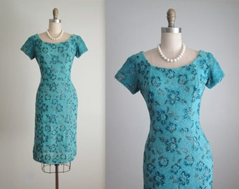 50's Beaded Dress // Vintage 1950's Heavily Beaded Floral Teal Cocktail Party Wiggle Dress S