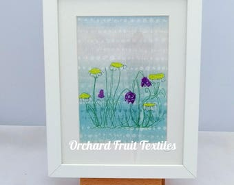 Original Textile Art - Framed Embroidery - Spring flowers