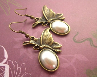 Earrings - butterflies - butterfly earrings and pearl cabochon Perlencabochon