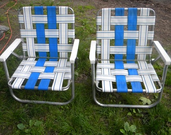 2 Nice Shape Clean Vintage Matching 1980s Mid Century Blue And White Webbed  Outdoor Patio Aluminum