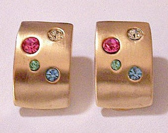 Valentino Pastel Crystal Stones Clip On Earrings Gold Tone Vintage Couture Fruit Basket Vc Haute Squares Round Satin Finish