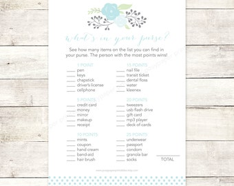 bridal shower game what's in your purse printable blue polka dots flowers floral bouquet wedding shower digital games - INSTANT DOWNLOAD