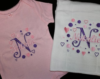 Personalized Baby Onesie and Burp cloth