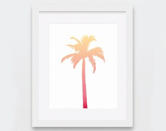 Palm Tree Print, Palm Tree Wall Art, Tropical Decor, Beachy Art Print, Yellow Peach Coral Art, Beach Theme Nursery, Summer Digital Art Print
