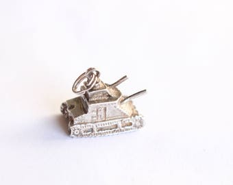 Sterling silver Tank Charm  925 Sterling Silver 3D charm
