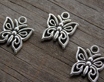 15 Silver Butterfly Charms 15mm Antiqued Silver
