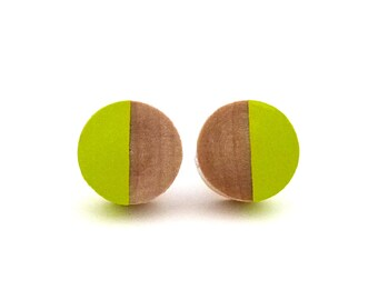 Yellow green wood post earrings, green stud earrings, fake gauges, chartreuse earrings